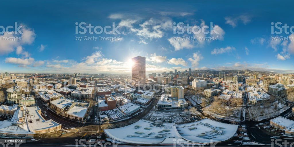 Portland snowy morning with sunshine - full 360 by 180 aerial photosphere This is a full 360x180 aerial photosphere of the snowy morning at Pearl District, Portland, OR. 360-Degree View Stock Photo