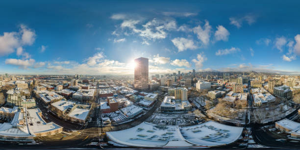 Portland snowy morning with sunshine - full 360 by 180 aerial photosphere stock photo