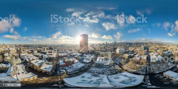 Portland Snowy Morning With Sunshine Full 360 By 180 Aerial Photosphere Stock Photo - Download Image Now