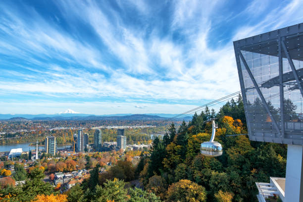 Portland View and Aerial Tram stock photo