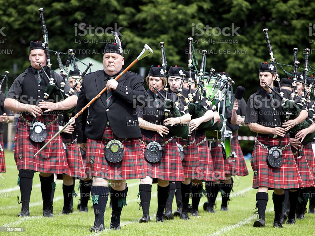 Portlethen Pipe Band performing at Stonehaven Highland Games, Scotland royalty-free stock photo