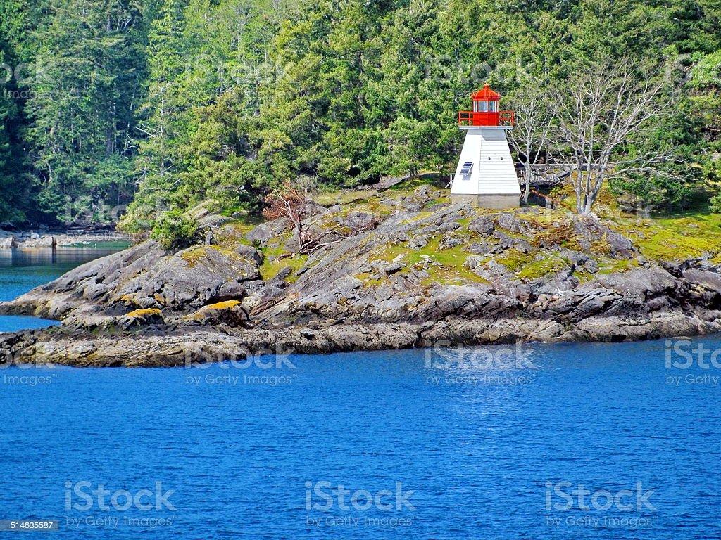Portlock Point Lighthouse, British Columbia stock photo