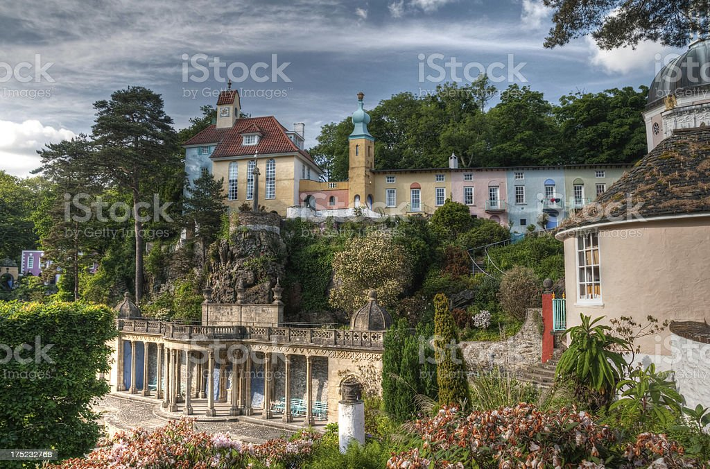 Portmeirion village and lanscaped gardens HDR stock photo