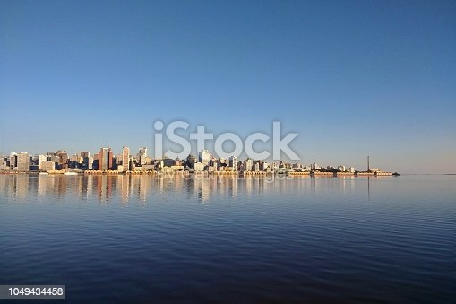Porto Alegre cityscape view from Guaíba's lake, south of Brazil.