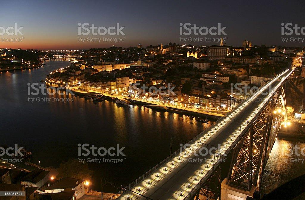 Porto and Bridge D. Luis at Night royalty-free stock photo