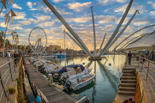 Genoa: View of port of Genoa with Porto Antico, boats and the colorful houses on italian coastline.