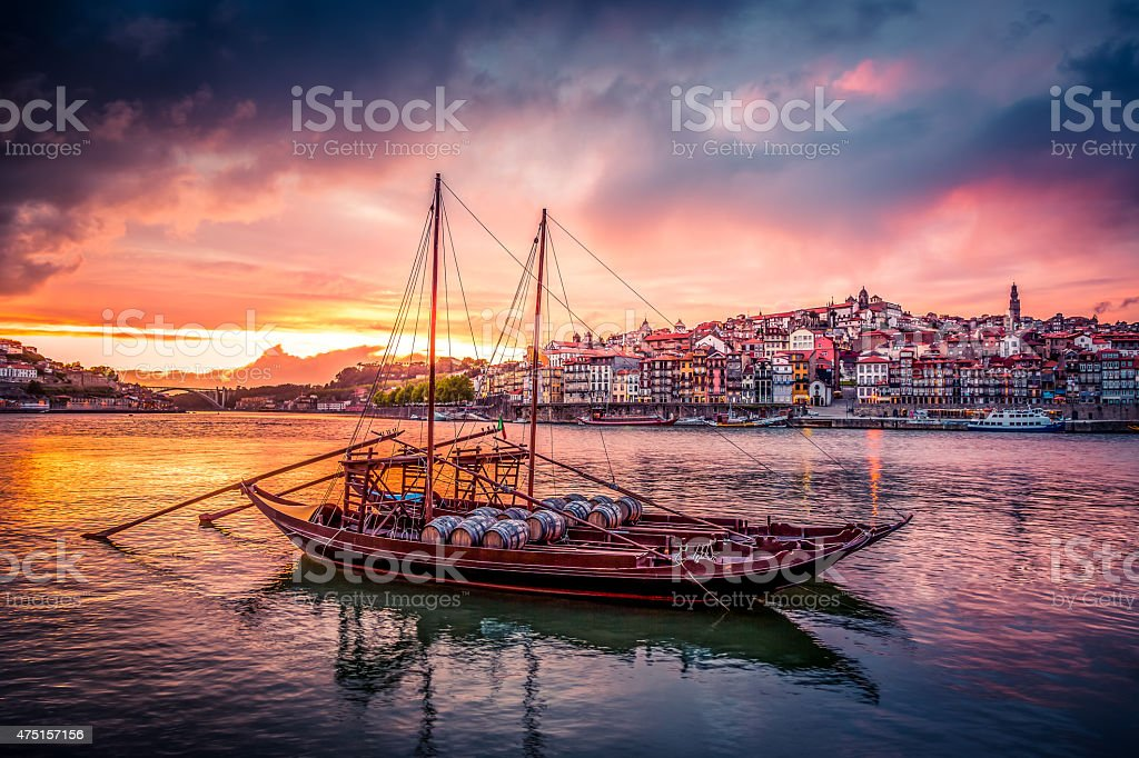 Porto at Sunset with Rabelo Boats on Douro River stock photo