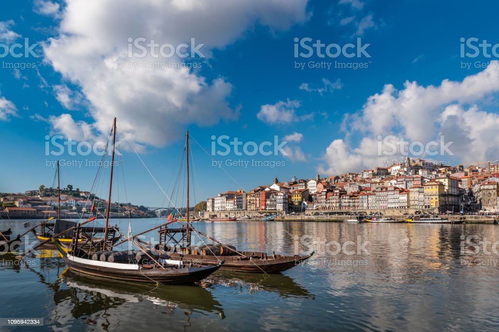 Porto boat with wine barrels stock photo