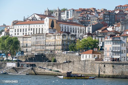 Porto, Portugal, 1 May 2019.   A Sandeman billboard, which is a famous Portuguese Port.  Porto is a coastal city in northwest Portugal known for its stately bridges and port wine production.