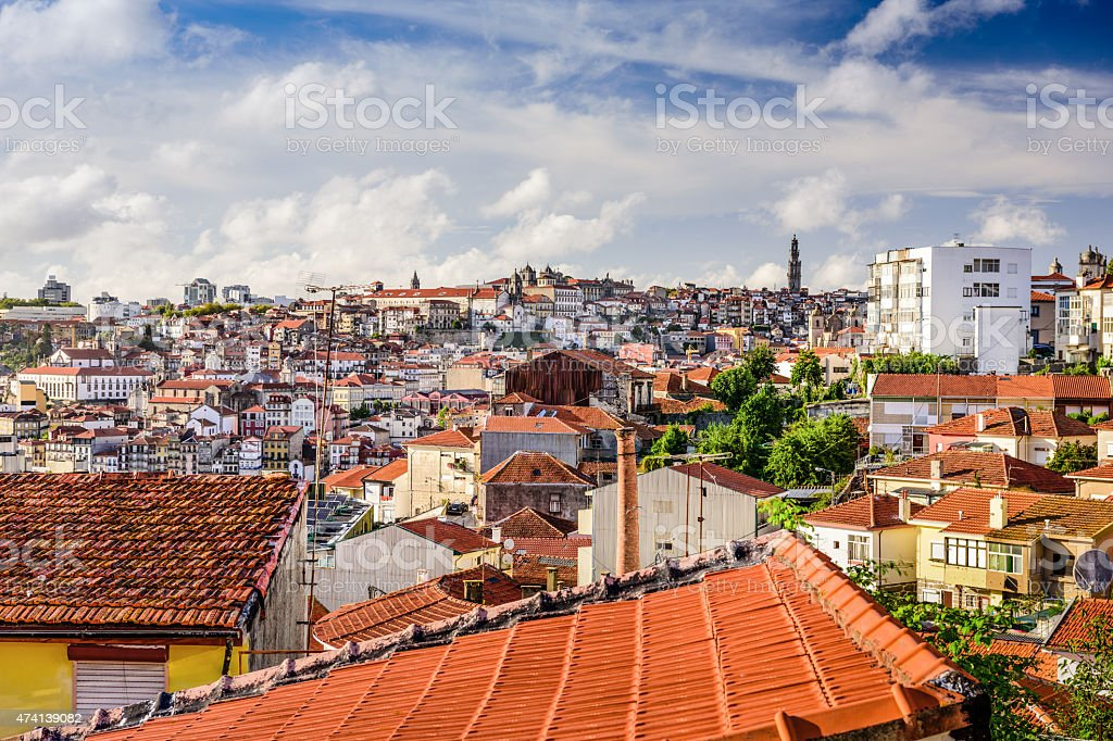 Porto Cityscape from Vila Nova de Gaia stock photo