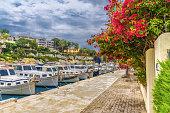 Palma de Mallorca - May 21, 2018: Beautiful travel destination scene in Mallorca island with traditional motor boats in Porto Cristo region