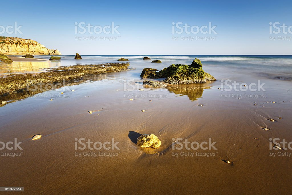 Porto de Mos Beach in Lagos, Algarve, Portugal royalty-free stock photo