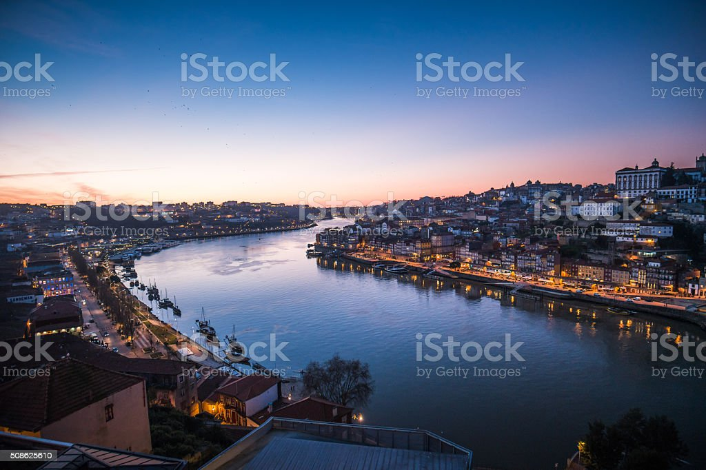 Porto Douro River at sunset stock photo