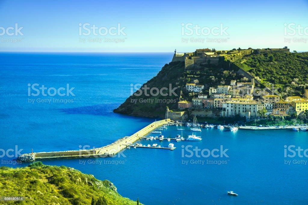 Porto Ercole village and harbor in a sea bay. Aerial view, Argentario, Tuscany, Italy stock photo