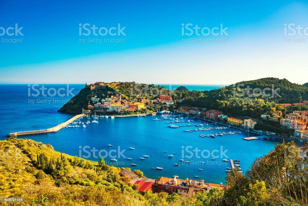Porto Ercole village  harbor  sea bay.Aerial view, Argentario, Tuscany, Italy stock photo