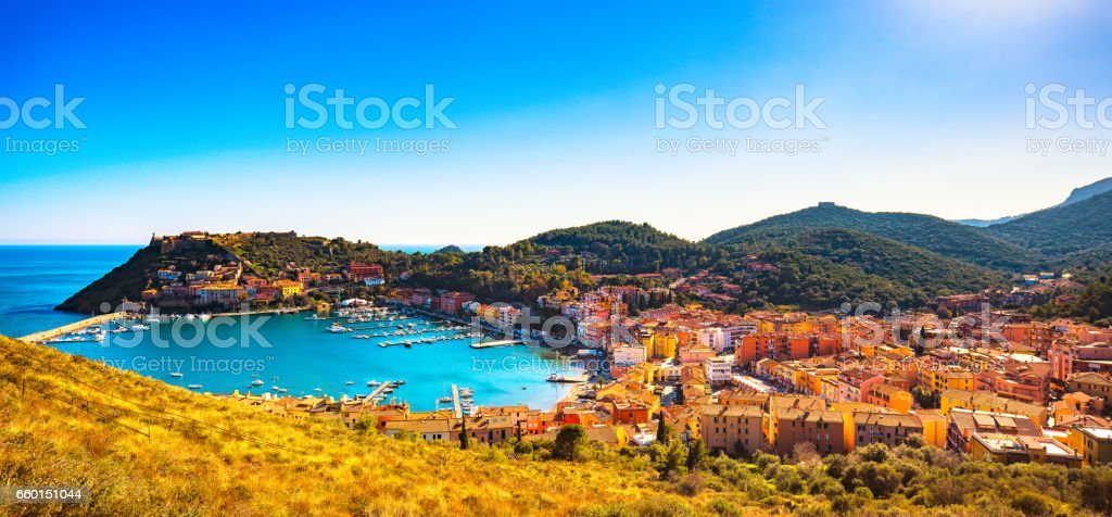 Porto Ercole village panorama and harbor in a sea bay. Aerial view, Argentario, Tuscany, Italy stock photo