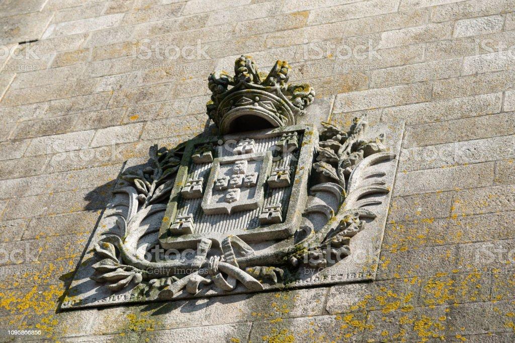 Porto historical arms on the bridge stock photo