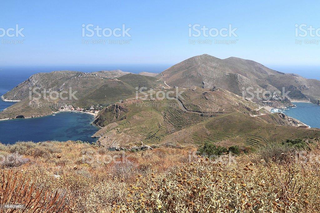 Porto Kagio and Marmari, The Mani Region, Peloponnese, Greece stock photo