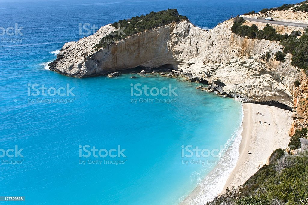 Porto Katsiki beach at Lefkada in Greece stock photo