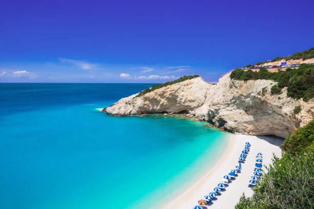 Porto Katsiki Playa, de Lefkada Isla, Grecia - foto de stock