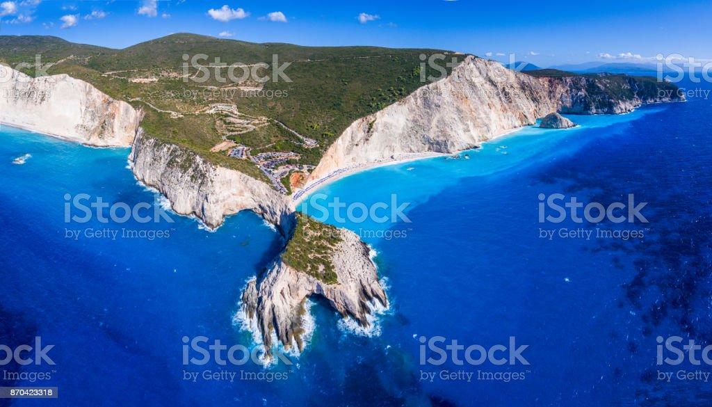 Porto Katsiki Beach Lefkada panoramic view stock photo