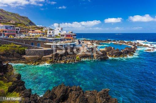 Beautiful landscape over Porto Moniz region, natural swimming pools on Madeira island, Portugal