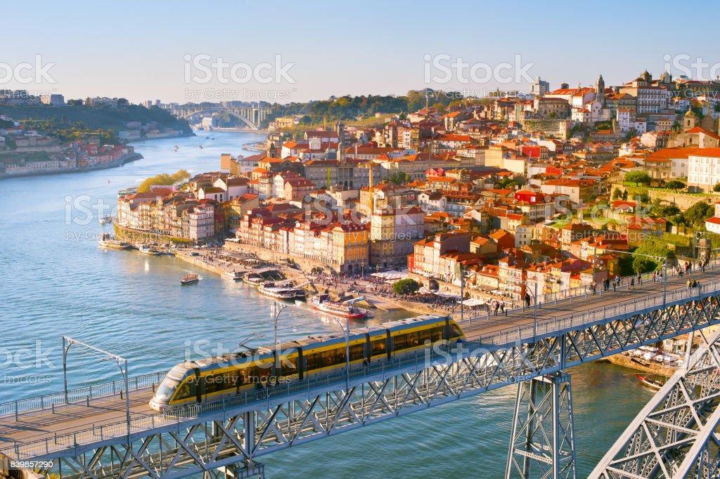 Visão geral do Porto ao pôr do sol, Portugal - foto de acervo