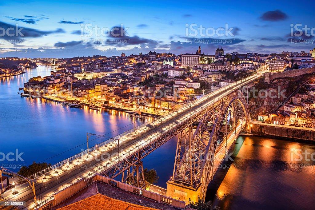 Porto, Portugal at Dom Luis Bridge stock photo