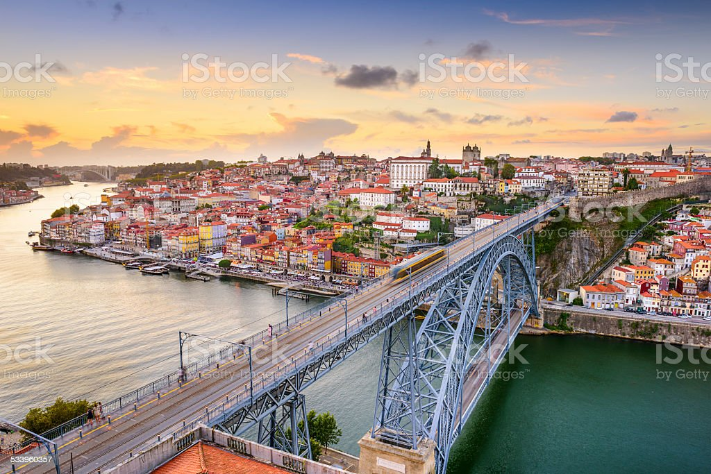 Porto, Portugal at Dom Luis Bridge stock photo