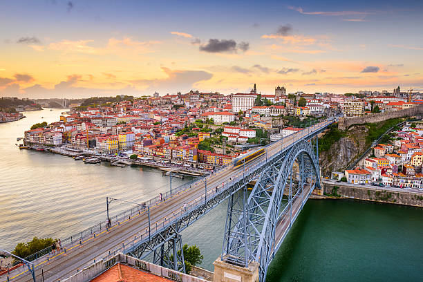 porto, portugal at dom luis bridge - portugal stock photos and pictures