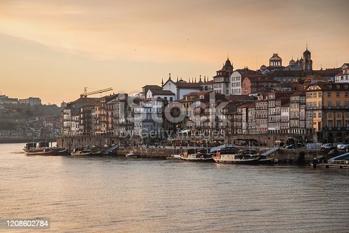 A view of the waterfront of Porto, Portugal, by the Douro river, at sunset