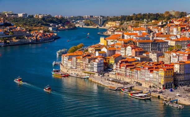 porto, portugal old town on the douro river. oporto panorama. - douro imagens e fotografias de stock