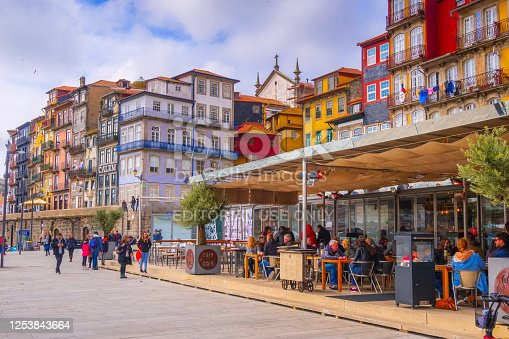 Porto, Portugal - April 1, 2018: Old town Ribeira promenade view and people