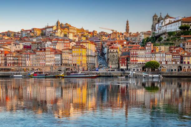 Porto, Portugal old town skyline stock photo