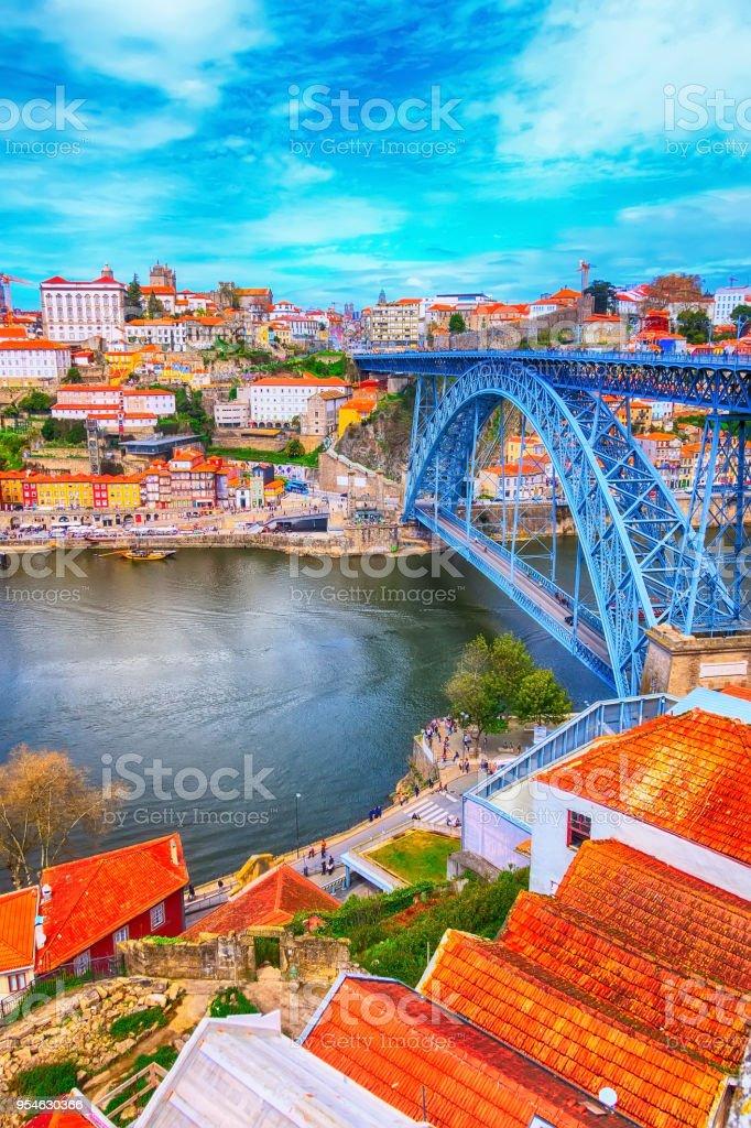 Porto, Portugal old town view and Luis I bridge stock photo