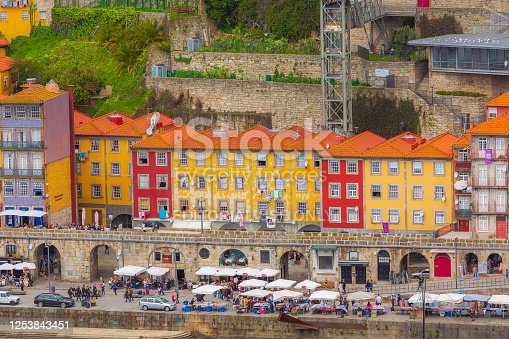Porto, Portugal - April 1. 2018: Old town ribeira aerial promenade view with colorful houses near Douro river