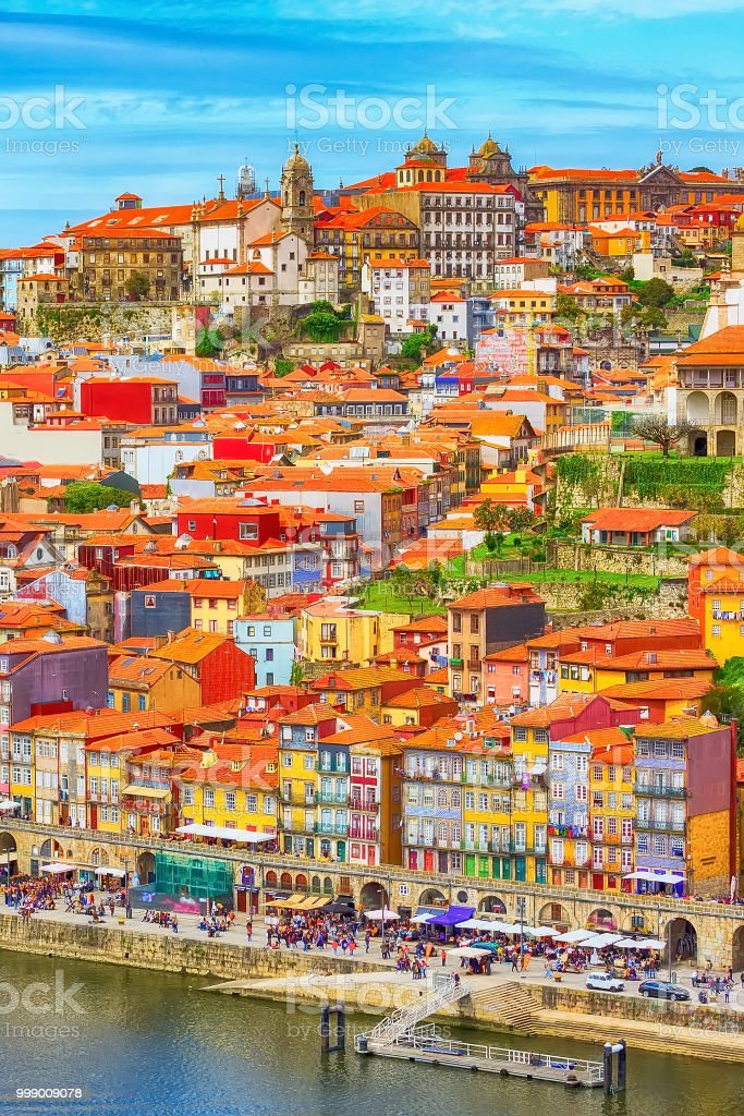 Porto, Portugal old town view with Douro river stock photo