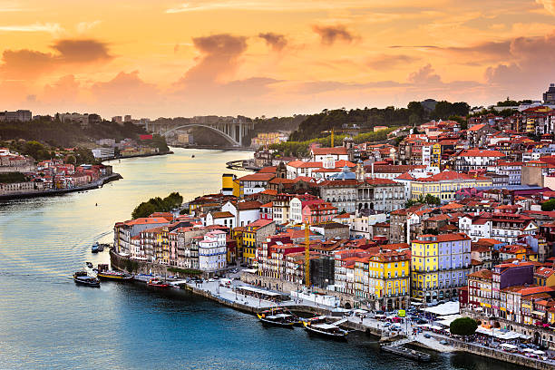 porto, portugal on the river - portugal stock photos and pictures
