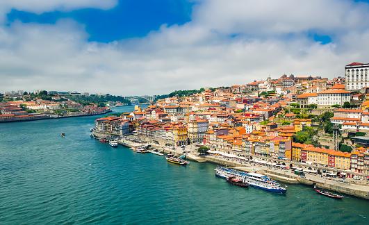 Porto, Portugal: Promenade in Cais de Ribeira along Duoro river in Porto old town