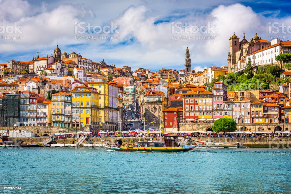 Porto, Portugal Skyline Porto, Portugal old town skyline from across the Douro River. Alley Stock Photo