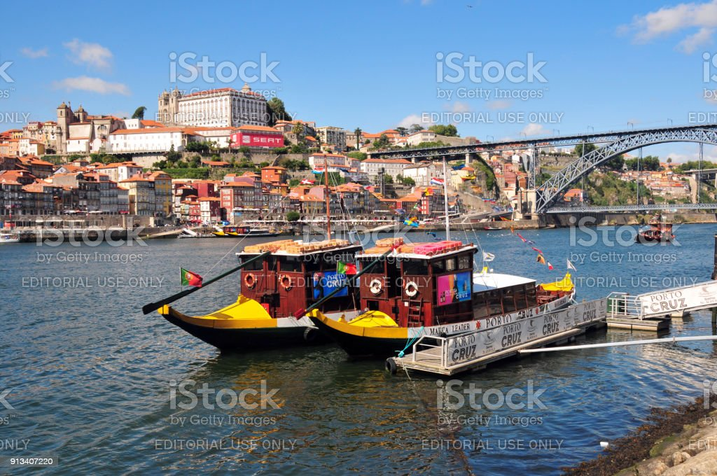 Porto, Portugal - the city and the Douro river - Rabelo boats used for river cruises stock photo