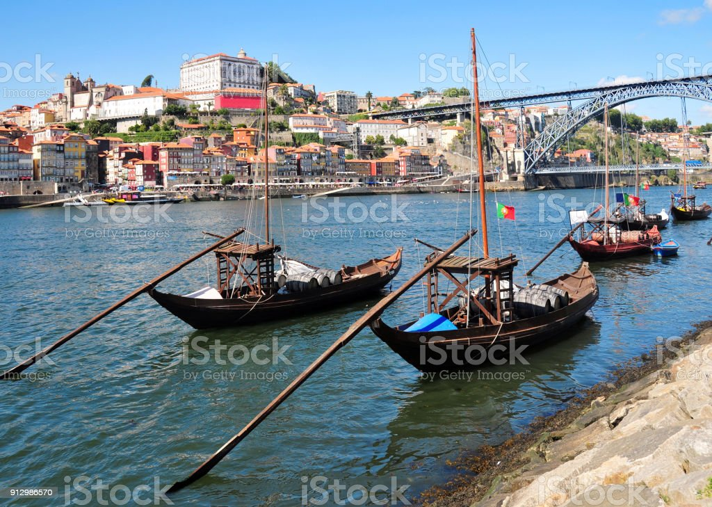 Porto, Portugal - the city and the Douro river - Rabelo boats traditionally used to transport Port wine stock photo