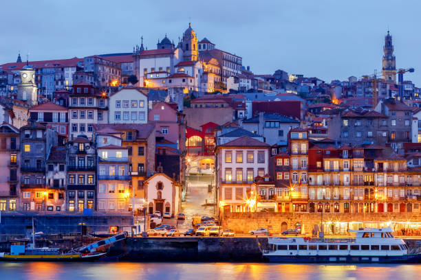Porto. Quay at night stock photo