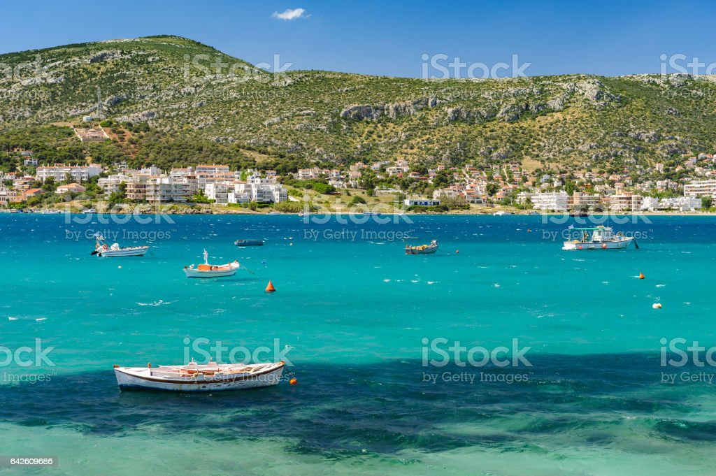 Porto Rafti harbor view, Greece stock photo