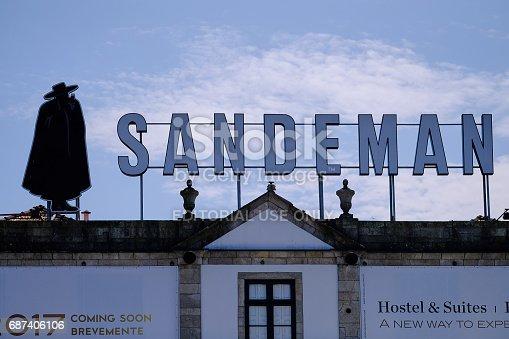 Porto, Portugal - May 14, 2017: Porto Sandeman logo on big sign over building in Gaia, a district in Porto, Portugal