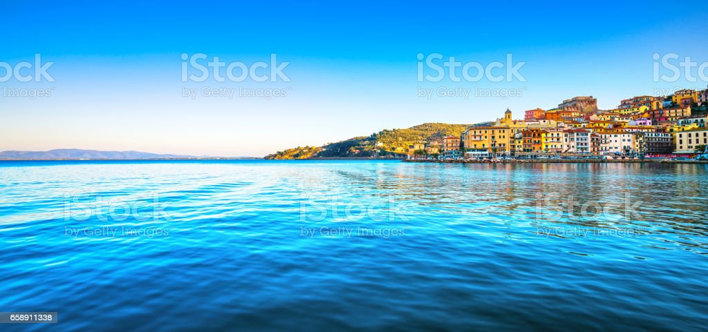 Porto Santo Stefano panoramic view of seafront. Argentario, Tuscany, Italy stock photo