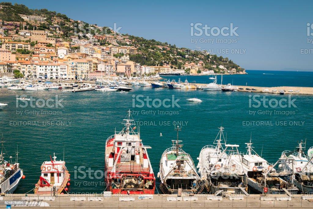 Porto Santo Stefano village skyline, italian travel destination. Monte Argentario, Tuscany, Italy. stock photo