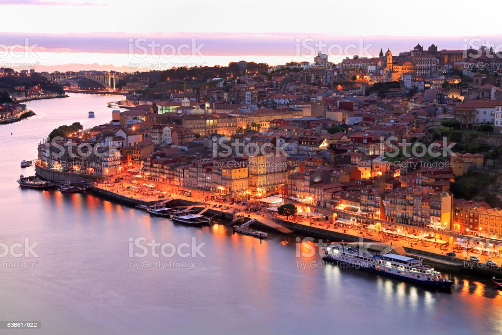 Porto skyline and Douro River at night stock photo