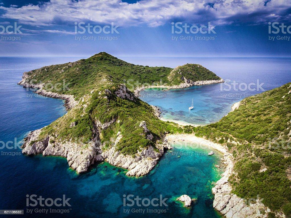 Porto Timoni, on of the hidden beaches of Corfu Island, stock photo