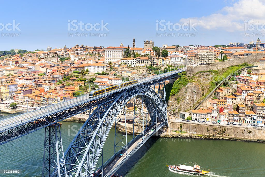 Porto, view of the city and Douro's river. stock photo